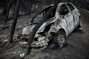 A burned car is stuck under a burned tree following a wildfire in Neos Voutzas, near Athens, Greece, July 26, 2018.