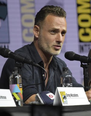 "Andrew Lincoln speaks at a panel for ""The Walking Dead"" on day two of Comic-Con International on Friday, July 20, 2018, in San Diego. (Photo by Richard Shotwell/Invision/AP)"