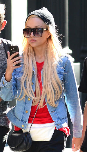 Actress Amanda Bynes is seen with friends in Soho on October 6, 2014 in New York City.