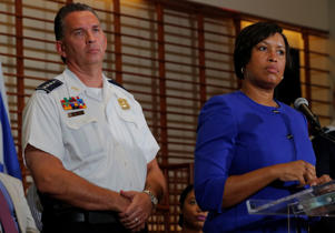 "Washington D.C. Mayor Muriel Bowser and Metropolitan Police Department Chief Peter Newsham answer questions from reporters about the city's preparations for the white nationalist-led rally marking the one year anniversary of 2017 Charlottesville ""Unite the Right"" protests in Washington, D.C., August 9, 2018."