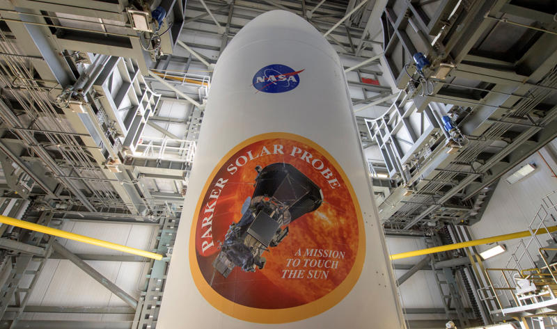 The United Launch Alliance Delta IV Heavy rocket payload fairing is seen with the NASA and Parker Solar Probe emblems, at Launch Complex 37, Cape Canaveral Air Force Station, Florida, U.S., August 8, 2018. Parker Solar Probe will travel through the Sun's atmosphere, closer to the surface than any spacecraft before it.   Courtesy Bill Ingalls/NASA/Handout via REUTERS  ATTENTION EDITORS - THIS IMAGE HAS BEEN SUPPLIED BY A THIRD PARTY. MANDATORY CREDIT.