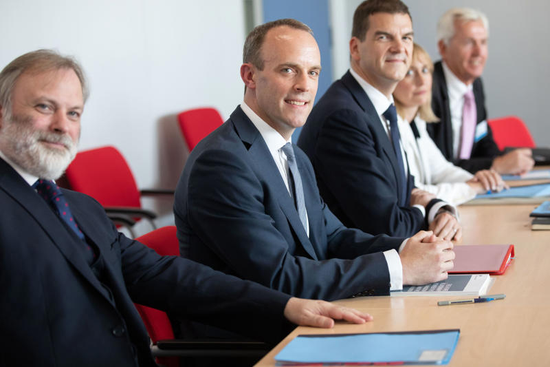 Britain's Secretary of State for Exiting the European Union (Brexit Minister) Dominic Raab (2L) attends a meeting with EU's chief Brexit negotiator at the European Commission in Brussels on July 19, 2018. - Britain's new Brexit negotiator Dominic Raab said on July 19 he planned on 'intensifying' the withdrawal negotiations as he met his EU counterpart for the first time. (Photo by Olivier Matthys / POOL / AFP)        (Photo credit should read OLIVIER MATTHYS/AFP/Getty Images)