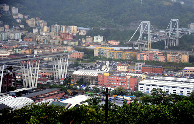 Slide 1 de 20: The collapsed Morandi Bridge is seen in the Italian port city of Genoa August 14, 2018.