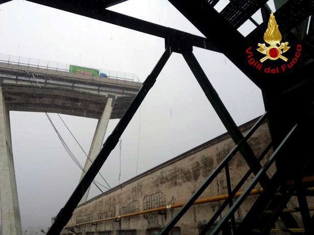 Italian firefighters released a photo of the collapsed bridge