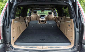 a car parked on the side of a vehicle: 2018 Cadillac Escalade ESV cargo configuration