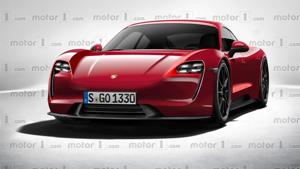 a red car: 2020 Porsche Mission E render
