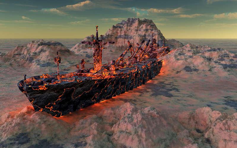 A Cargo Ship Turned Into Molton Magma.