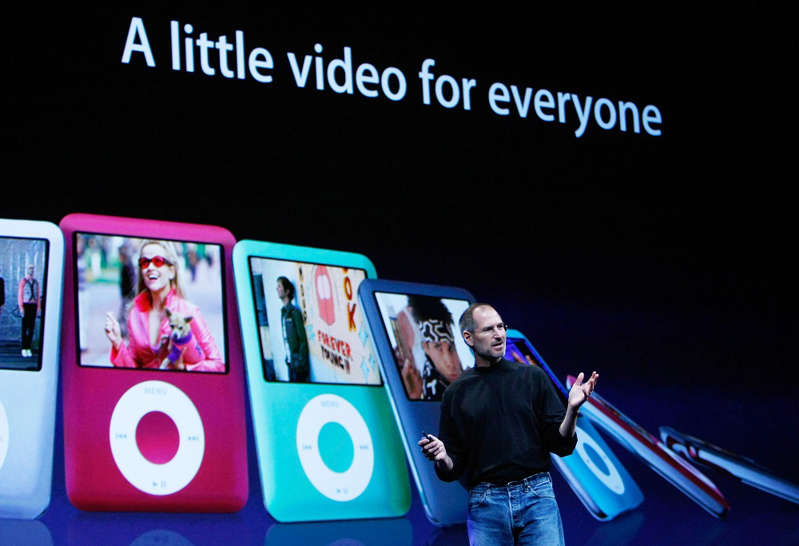 Apple CEO Steve Jobs talks about the iPod Nano during an Apple Special event September 5, 2007 in San Francisco, California. Jobs announced a new generation of iPods