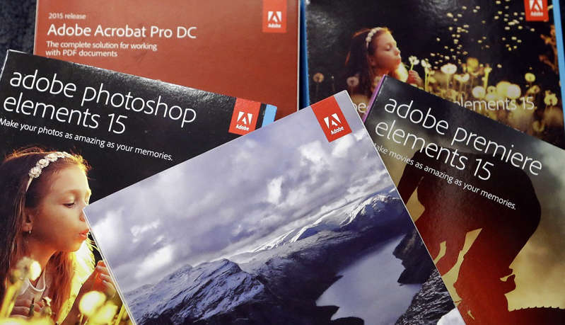 This June 21, 2017, file photo, shows Adobe software displayed at a store