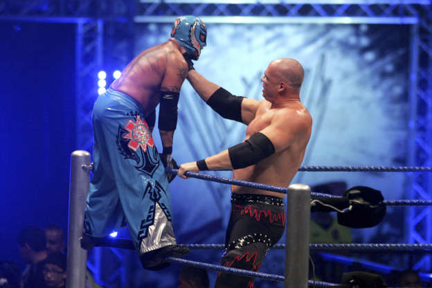 Kane and Rey Misterio  fight during WWE Smackdown