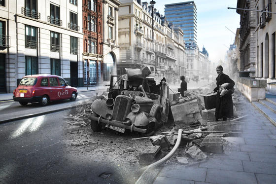 Slide 1 de 36: In this digital composite image a comparison has been made between a London scene during the Blitz of 1940-1941 and present day, to remember the 75th anniversary of the end of the Blitz in London on May 11, 2016. *** FILE PHOTO (#2673919) - A wrecked Humber car on Pall Mall, London after an air raid during the London Blitz, 15th October 1940. (Photo by Central Press/Getty Images) *** (#528814636) LONDON, ENGLAND - MAY 1: A street scene at Pall Mall in Piccadilly on May 1, 2016 in London, England. The Blitz aerial bombing offensive lasted for eight months during the early stages of the Second World War, including 57 consecutive nights of raids on the city of London. On the evening of Saturday May 10, 1941 the Luftwaffe mounted its last major bombing raid of the Blitz on London, known as 'The Longest Night', bringing to an end a deadly campaign that killed over 20,000 people in the capitol, left another 1.5 million Londoners homeless and changed the London landscape more than at any time since the Great Fire of 1666. The British fortitude and defiance amidst such chaos gave rise to the term 'Blitz spirit'. (Photo by Jim Dyson/Getty Images)