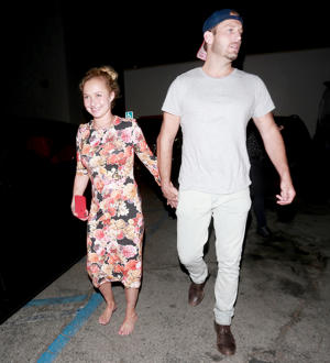 Hayden Panettiere leaves the back door of Craig's restaurant with a male friend.