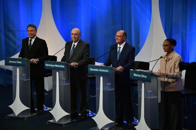 Slide 10 de 20: Da esquerda para a direita: Alvaro Dias, Henrique Meirelles, Geraldo Alckmin e Marina Silva