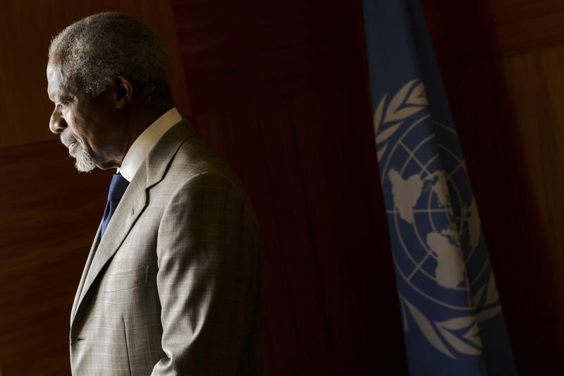 UN-Arab League envoy Kofi Annan looks on before a meeting at his office at the United Nations Offices in Geneva on July 20, 2012.