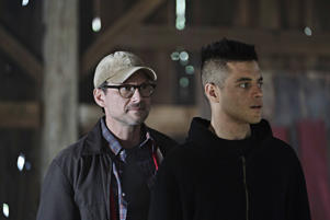 Pictured: (l-r) Christian Slater as Mr.Robot, Rami Malek as Elliot Alderson