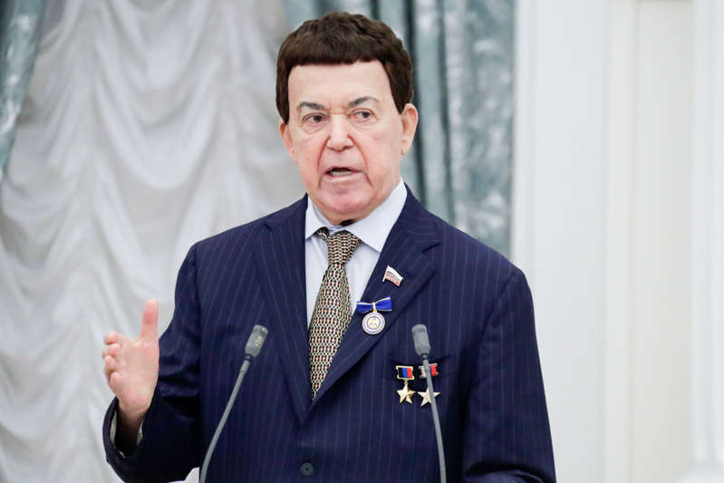 Russian State Duma member, singer Iosif Kobzon awarded with a decoration For Beneficence at a ceremony to present state decorations at the Moscow Kremlin.