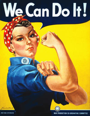 Rosie The Riveter vintage war poster from World War Two.