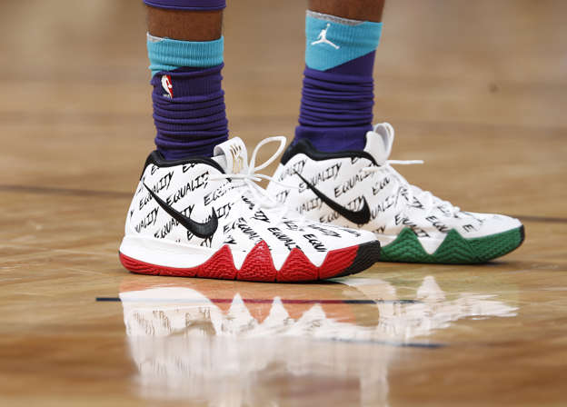 5f64db0ab3 Charlotte Hornets guard Julyan Stone (32) in his Nike shoes emblazoned with  the word