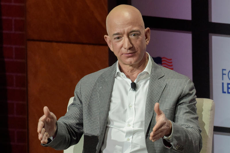 Jeff Bezos, Chairman and CEO of Amazon, speaks at the George W. Bush Presidential Center's Forum on Leadership in Dallas, Texas, U.S., April 20, 2018.