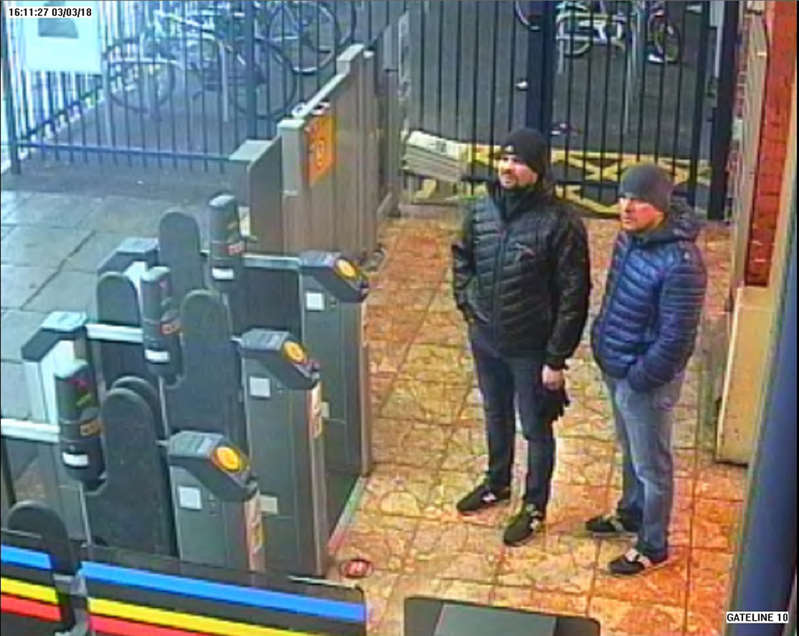 CCTV image issued by the Metropolitan Police of Russian Nationals Ruslan Boshirov and Alexander Petrov at Salisbury train station at 16:11hrs on March 3 2018.