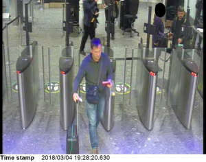 Handout CCTV image issued by the Metropolitan Police of Russian Nationals Ruslan Boshirov and Alexander Petrov at Heathrow airport security at 19:28hrs on March 4 2018.