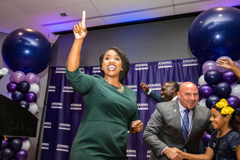 BOSTON, MA - SEPTEMBER 04:  Ayanna Pressley, Boston City Councilwomen and House Democratic candidate, gives a victory speech at her primary night gathering after her opponent Mike Capuano conceded on September 4, 2018 in Boston, Massachusetts. Pressley beat Capuano, a 10-term incumbent, in Massachusetts' 7th District.