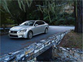 a car parked on the side of the road: 2017 Lexus GS