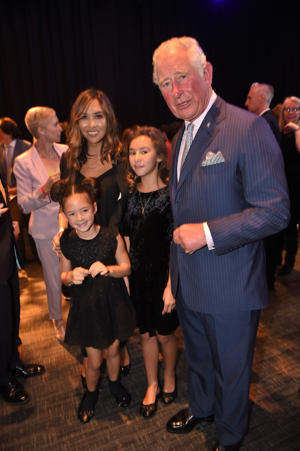 The Prince of Wales with Mylene Klass during a visit to the Royal Albert Hall in London to discuss the arts and creativity in school.