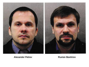 The under-cover agents travelled to the UK under the pseudonyms Alexander Petrov and Ruslan Boshirov.