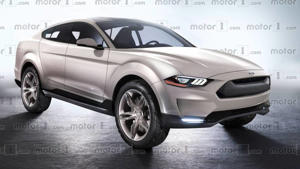 a car parked in a parking lot: Ford Mustang SUV Render