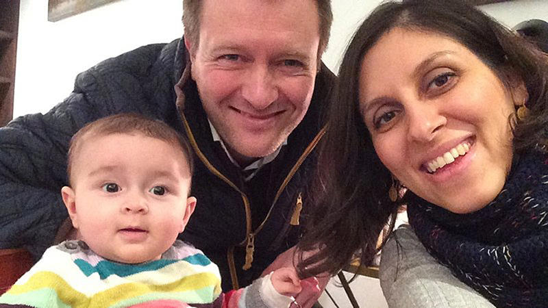 File photo of jailed British mother Nazanin Zaghari-Ratcliffe with her husband Richard Ratcliffe and their daughter Gabriella.