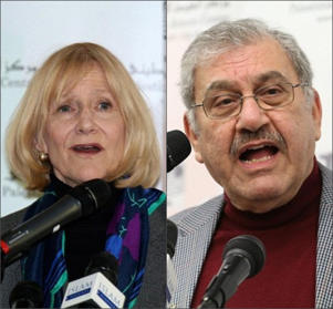 Alison Weir, left, has been disowned by a number of pro-Palestinian groups because of her alleged links to white supremacists. Sabagh al-Mukhtar, right, a lawyer who gave expert witness in support of hate preacher Abu Hamza before he was deported from Britain