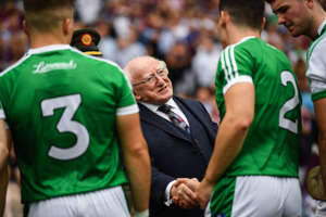 Dublin , Ireland - 19 August 2018; The President of Ireland, Michael D Higgins shakes hands with Seán Finn of Limerick prior to the GAA Hurling All-Ireland Senior Championship Final match between Galway and Limerick at Croke Park in Dublin. (Photo By Stephen McCarthy/Sportsfile via Getty Images)