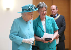 Queen Elizabeth II with Dame Jocelyn Bell Burnell (right) during a visit to the Royal Society of Edinburgh