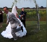 Hilarious moment groom makes a run