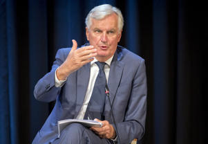 "The European Union's Brexit negotiator Michel Barnier speaks at the Bled Strategic Forum in Bled, Slovenia, Monday, Sept. 10, 2018. Bernier said that it was ""realistic"" to expect a divorce deal with Britain by early November 2018. (AP Photo/Darko Bandic)"