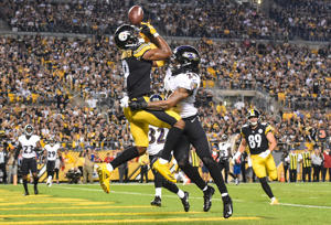 Sep 30, 2018; Pittsburgh, PA, USA; Baltimore Ravens cornerback Brandon Carr (24) breaks up a pass intended for Pittsburgh Steelerswide receiver JuJu Smith-Schuster (19) during the second quarter at Heinz Field.