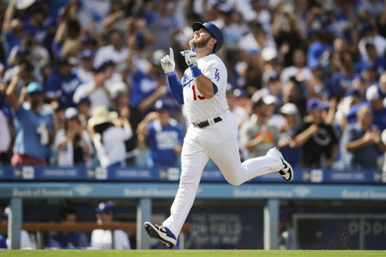 Slide 1 of 78: Los Angeles Dodgers' Max Muncy celebrates his two-run home run during the fifth inning of a tiebreaker baseball game against the Colorado Rockies, Monday, Oct. 1, 2018, in Los Angeles. (AP Photo/Jae C. Hong)