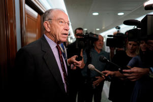 Sen. Chuck Grassley (R-IA), Chairman of the Senate Judiciary Committee, speaks with reporters on Capitol Hill in Washington, U.S., October 2, 2018.