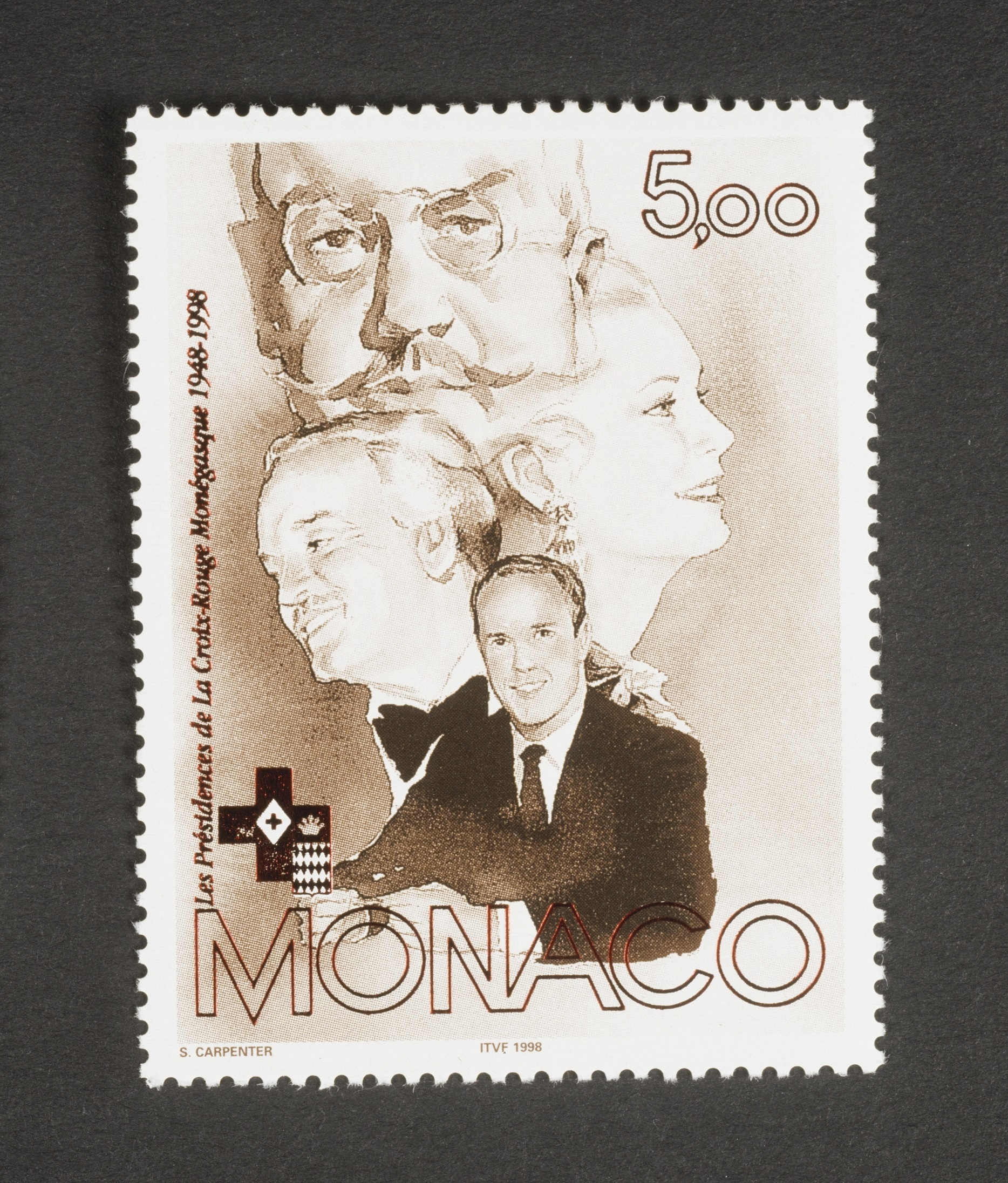 Slide 70 of 70: MONACO - SEPTEMBER 06: Postage stamp commemorating the 50th anniversary of the Red Cross of Monaco, 1998, depicting the portraits of Presidents (Louis II, Rainier III, Princess Grace and Prince Albert II). Monaco, 20th century. Monaco (Photo by DeAgostini/Getty Images)