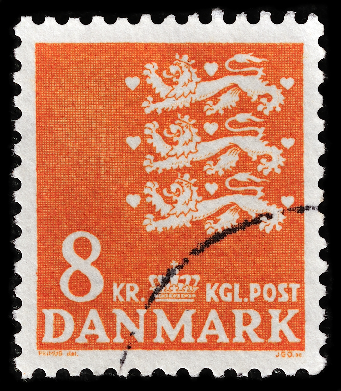 Slide 66 of 70: Stockholm, Sweden - February 11, 2013: DENMARK-CIRCA 1946: A stamp printed in Denmark shows image of the Small national coat of arms of Denmark (three crowned lions and nine hearts), without inscriptions, series 'Coat of arm', circa 1946.