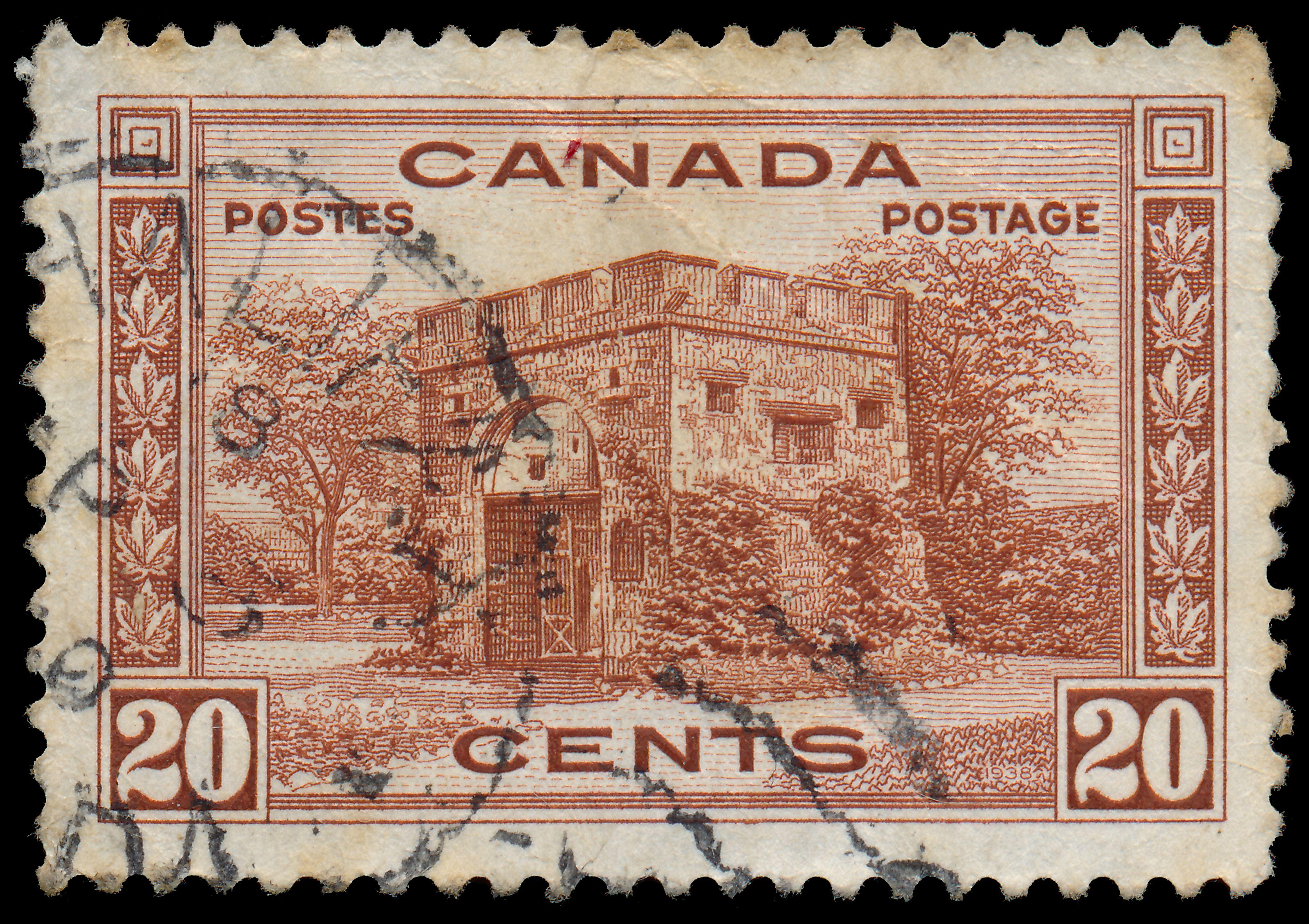 Slide 69 of 70: CANADA - CIRCA 1938: A stamp printed in Canada shows Fort Gary gate ,Winnipeg, circa 1938
