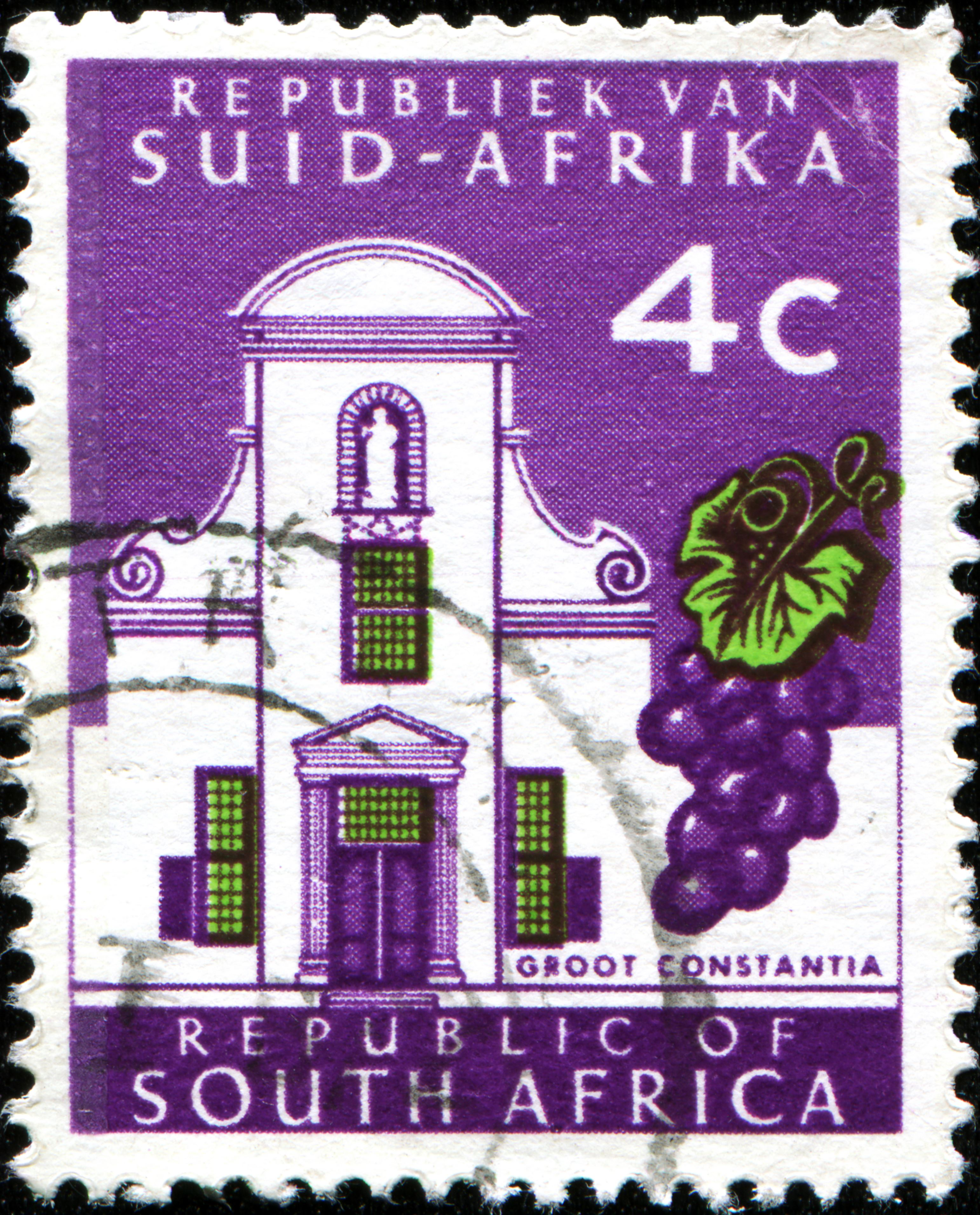 Slide 68 of 70: SOUTH AFRICA - 1961/01/01: CIRCA 1961: A stamp printed in South Africa shows Cape Towns Groot Constantia wine estate. (Photo by Igor Golovniov/SOPA Images/LightRocket via Getty Images)