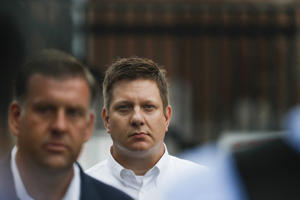 Chicago police Officer Jason Van Dyke walks out of Cook County Jail on Thursday, Sept. 6, 2018 in Chicago. Van Dyke is on trial for the shooting death of Laquan McDonald. (Jose M. Osorio/Chicago Tribune/TNS via Getty Images)
