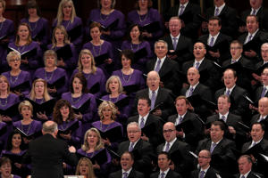 The Mormon Tabernacle Choir sings during the funeral for Thomas S. Monson, President of the Mormon Church, in Salt Lake City, Utah, U.S., January 12, 2018.