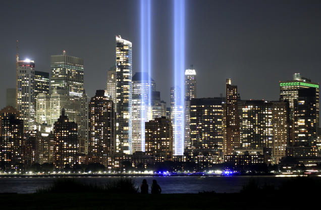 Slide 17 of 17: JERSEY CITY, NJ - SEPTEMBER 5: The annual Tribute in Light marking the 17th anniversary of the attack on the World Trade Center is tested in New York City on September 5, 2018 as seen from Jersey City, New Jersey. (Photo by Gary Hershorn/Getty Images)