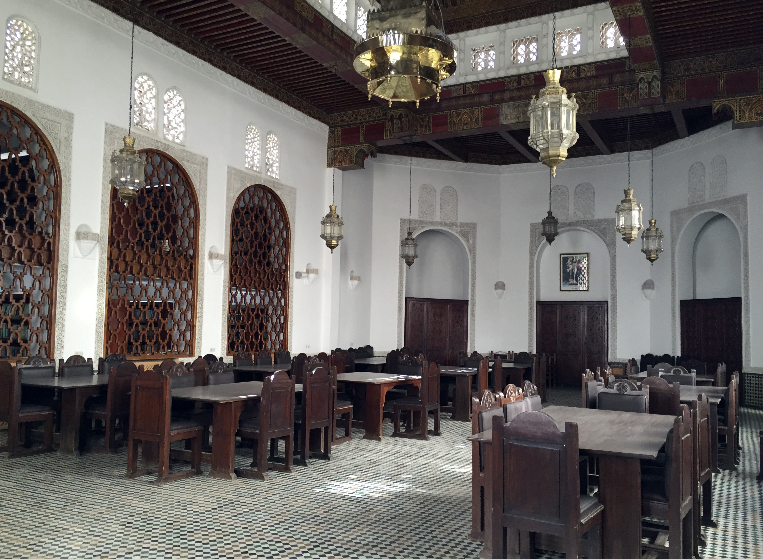 Slide 18 of 77: This April 14, 2016, photo shows the reading room of the Al-Qarawiyyin mosque in Fez, Morocco. Founded 12 centuries ago by a pioneering woman, the al-Qarawiyyin library is wrapping up a careful restoration project and King Mohamed VI is expected to preside over the reopening. But authorities haven't decided whether the public will be able to view its treasured Islamic manuscripts, or whether that privilege will be limited to university researchers. (AP Photo/Samia Errazouki)