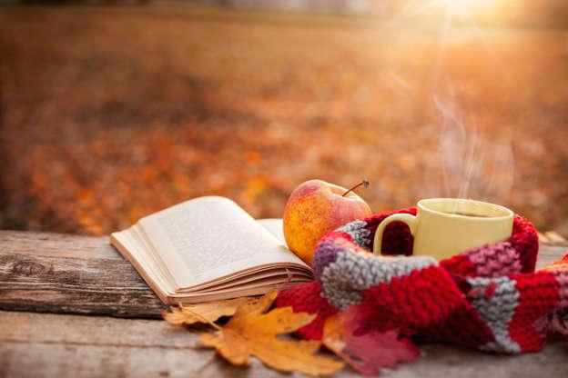 幻灯片 14 - 1: Tea mug with warm scarf open book and apple on wooden surface