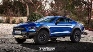 a blue car parked in a parking lot: Ford Mustang Raptor Render
