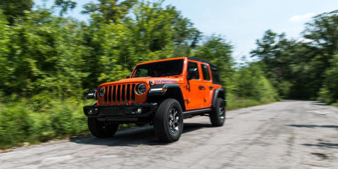 The Rubicon dials back some of the newfound refinement of the JL-series Wrangler, offering max swagger with its top V-6 engine paired with a new eight-speed automatic in the four-door Unlimited.